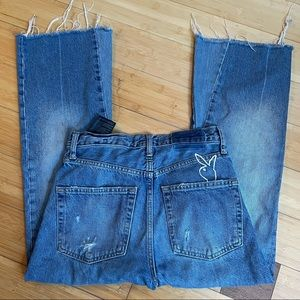 Zara Woman Cropped Flare Raw Hem Jeans x Playboy
